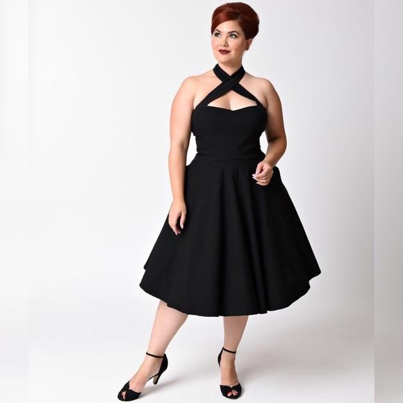 d4ba885c137 1950s black criss cross halter flare Rita dress. M 5bd789086197455608e7152c